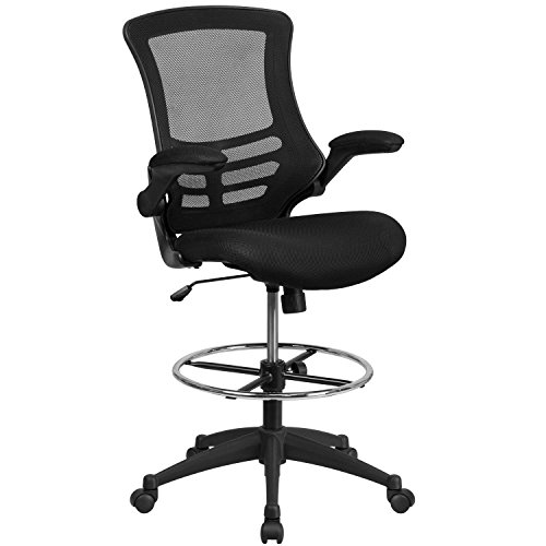 Flash Furniture Mid-Back Black Mesh Drafting Chair with Adjustable Foot Ring and Flip-Up Arms