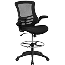 Flash Furniture BL-X-5M-D-GG Black Mesh Drafting Chair