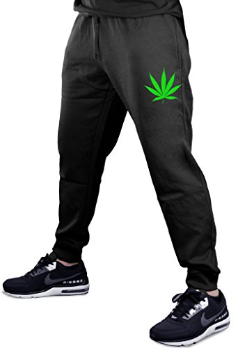 Tiny Weed Leaf V360 Men's Black Fleece Gym Jogger Sweatpants Large Black
