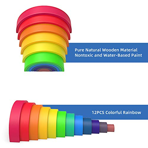 WAYES Waldorf Large 12-Piece Rainbow Tunnel Stacker Grimm's Wooden Rainbow Sunset Nesting Puzzle/Creative Sculpture Building Blocks Educational Learning Toys Gift Blocks Game for Kids Toddler Baby by WAYES (Image #3)