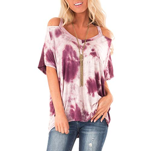 (Women's tie-Dyed Off-Shoulder Blouse Fashion V-Neck Casual Summer Short-Sleeved Loose V-Neck Print T-Shirt Casual top MEEYA Hot Pink)