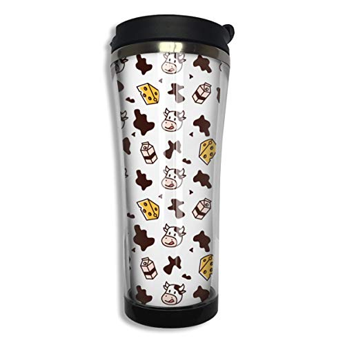 Stainless Steel Cup Beautiful Cow Milk Cheese Coffee Cup Drinking Mug Portable Accompanying Cups for Home Office School Works Great for Hot & Cold Beverage