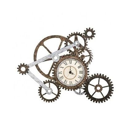Amazon.com: Rustic Wall Clock Industrial Metal Gears Vintage Home ...