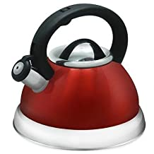 Alpine Red Finish Encapsulated Base 18/10 Stainless Steel Whistling Tea Kettle Pot by Alpine Cuisine