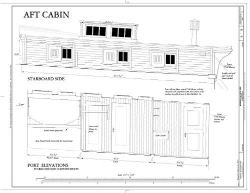 - Blueprint Diagram Aft Cabin: Starboard Side, Port Elevations (Starboard Side Compartments) - Schooner C.A. THAYER, Hyde Street Pier, San Francisco, San Francisco County, CA 14in x 11in