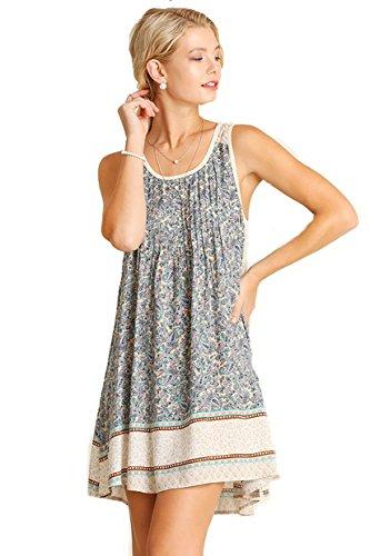 Gorgeous Lace Back Sleeveless Border Print Dress