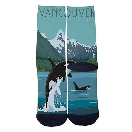 (Men's Women's Custom Canada Vancouver Island Socks 3D Print Novel Creative Casual Crew Socks)