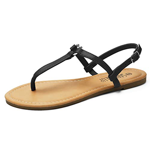SANDALUP Thong Flat Sandals with U-Shaped Metal Buckle for Women Summer Black