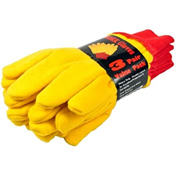 G & F 5414-3 Heavyweight Yellow Chore Winter Work Gloves, Double Layers, Large, 3 Pair Pack