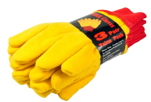 G & F 5414-3 Heavyweight Yellow Chore Winter Work Gloves, Double Layers, Large, 3 Pair Pack (Leather Chore Glove)