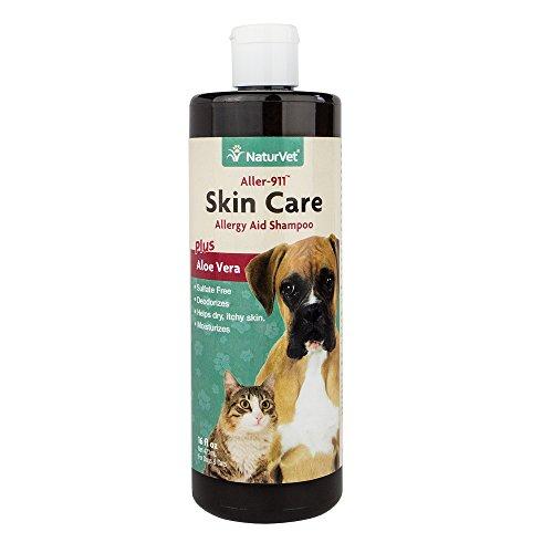 NaturVet Aller-911 Skin Care Shampoo Plus Aloe Vera for Dogs and Cats, 16 oz Liquid, Made in (Aloe 80 Daily Shampoo)