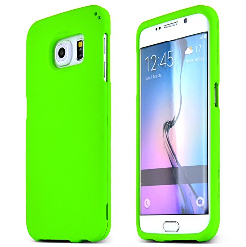 (Samsung Galaxy S6 Edge Case, [Neon Green] Slim & Protective Rubberized Matte Finish Snap-on Hard Polycarbonate Plastic Case Cover)