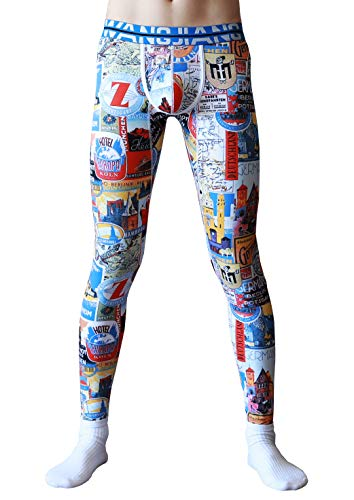 Cotton Print Underwear Long (ARCITON Men's Low Rise Leggings Long Johns Bottoms Thermal Pant US S/with Tag M(Waist: 30