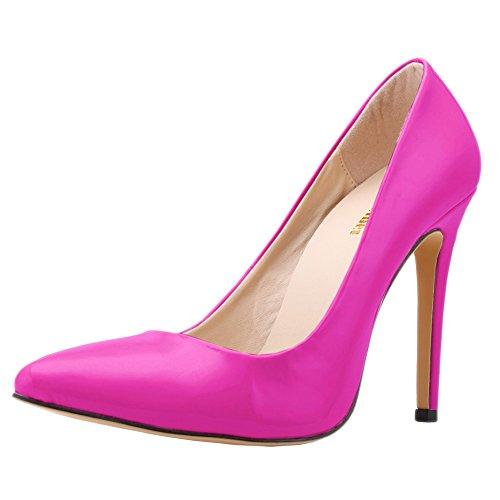 Faux PU High Neon Corset Zbeibei Women's Women Pumps Shoes Work Court Heels Leather Purple Style wH5gR