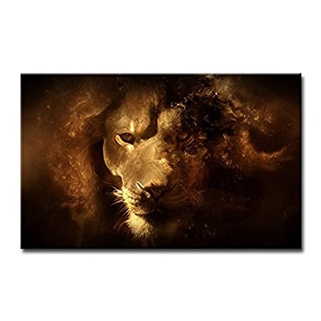 So crazy art wall art painting mysterious lion face close up pictures prints on canvas