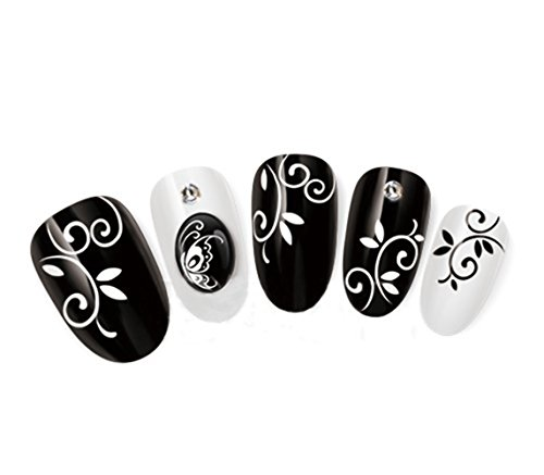 Nicedeco Beautiful & Fun & Colorful & Fashion Nail Stickers/Tattoo/Decals Water Transfer Decals Black/White Leaf & Swirls Pattern