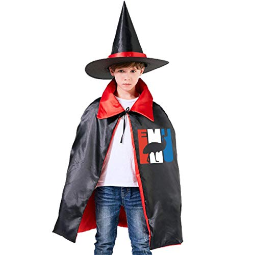 Retro Emu Silhouette Kids Halloween Costumes Witch Wizard Cloak With Hat Wizard Cape -
