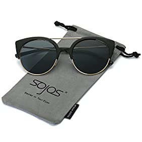 SojoS Womens Retro Vintage Half Metal Frame Cateye Sunglasses SJ2035