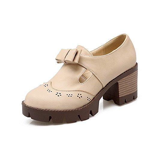AllhqFashion Damen Ziehen auf PU Leder Rund Zehe Hoher Absatz Rein Pumps Schuhe Cremefarben