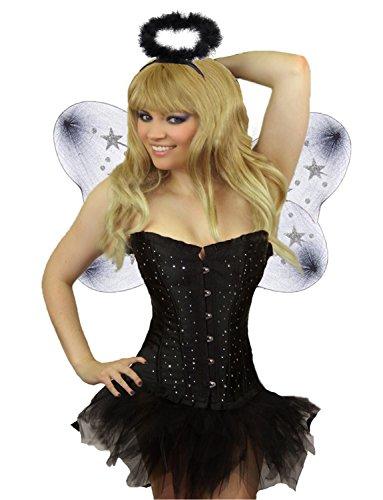 Yummy Bee Womens Corset Tutu Skirt Devil Dark Angel Costume + Wings Horns Halo Trident Black Size (Black Angel Costume With Tutu)