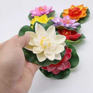 JETEHO Set of 8 Artificial Floating Foam Lotus Flower Water Lily for Home Garden Pond Aquarium Wedding Decor 3