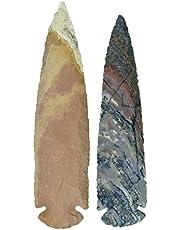 Harmonize Piedra curativa de Reiki Piedra de ágata Natural Cabeza de Flecha Hecha a Mano Cabeza de Flecha Juego de 2
