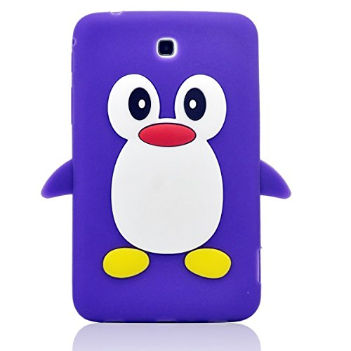 Tsmine Samsung Galaxy Tab 3 7.0-inch SM-T217 T217A T217S T217R T210R T2105 Kids Edition (2013 Model) Cartoon Case, Cute 3D Penguin Animal Soft Silicone Rubber Back Cover Case for Kids- Purple