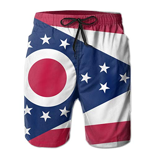 Ohio Print Shorts - ROLLING HOP Men's Cool Swim Trunks Ohio State Flag Swim Board Shorts for Outside Home with Pockets White