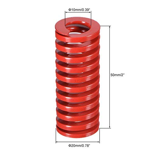 20mm OD 50mm Long Spiral Print Medium Load Compression Mold Die Red Spring 1 pcs