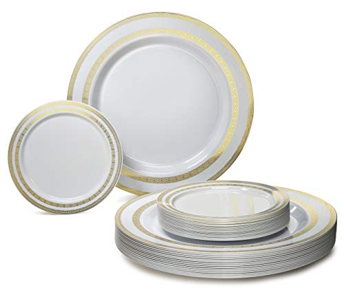 OCCASIONS 240 Pack Heavyweight Premium Disposable Plastic Plates Set - 120 x 10.5'' Dinner + 120 x 6.25'' Dessert/Cake Plates (Lace White/Gold) ...