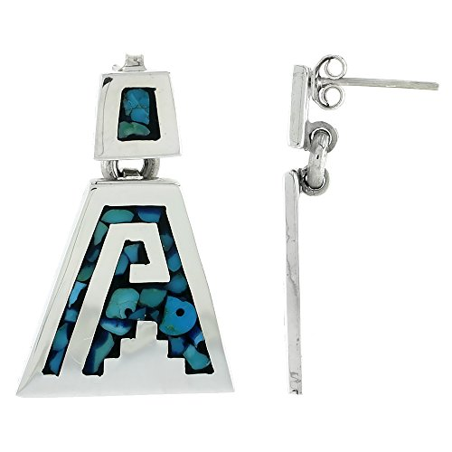 Sterling Silver Aztec Design Earrings, Turquoise Chip Inlay, 1 5/16 inch