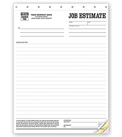 Amazon Com Job Estimate Forms 215 2 By Nebs Deluxe 2 Part