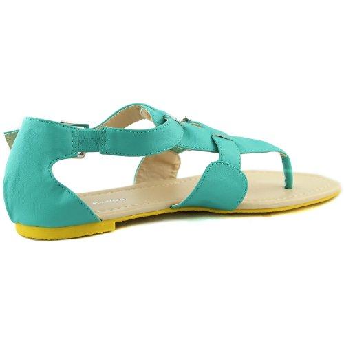 Kvinnor Gladiator Tillfällig Kors Spänne Flats Sandals Sommar Strand Sexig Mode Skor Mint Pu