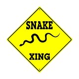 Snake Xing Crossing Wildlife Animal Attack Caution Danger Hunter Novelty Road Wall Décor Diamond Metal Aluminum 12''x12'' Sign