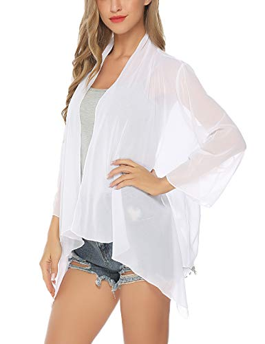 (Aibrou Womens Short Sleeve White Kimono Beach Cardigan for Women)