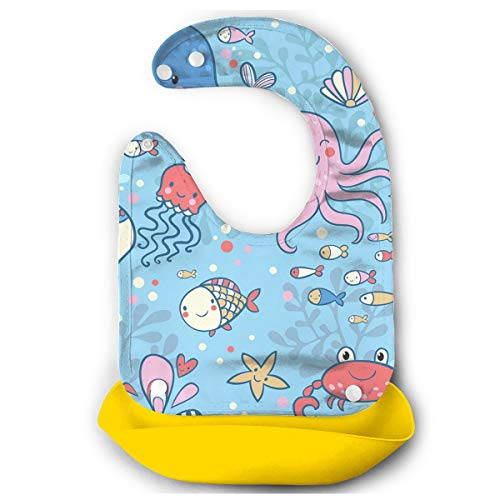 Price comparison product image Marine Rubber Baby Bibs Removable Unisex Bibs For Toddler Wipe, Easy Clean