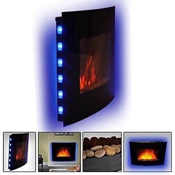 HOMCOM LED CURVED GLASS ELECTRIC WALL MOUNTED FIRE PLACE FIREPLACE 7 COLOUR  SIDE LIGHTs SLIMLINE PLASMA