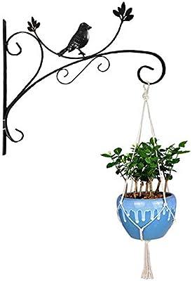 Yuccer Gancho Pared Planta, Soporte de Pared para Cestas de Flores Hierro Jardín Decoración Gancho para Colgante Macetas, Linternas, Comedero para Pájaros, Campanas de Viento (Negro): Amazon.es: Jardín