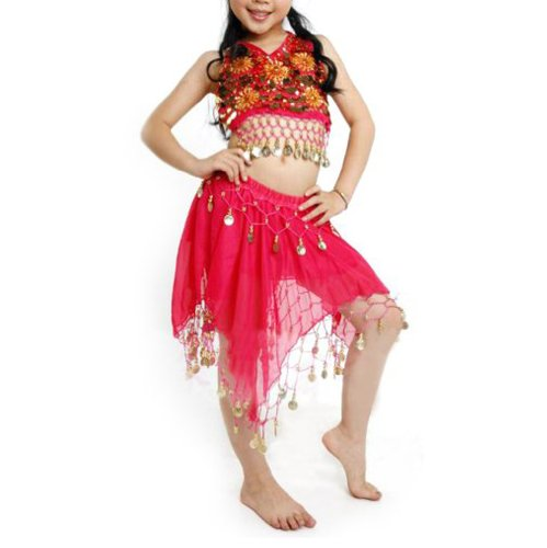 TOPTIE Kid's Tribal Belly Dance Girl Skirt &