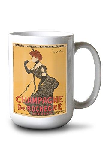 Champagne de Rochegre Vintage Poster (Artist: Cappiello, Leonetto) France c. 1902 (15oz White Ceramic - Champagne Leonetto Cappiello