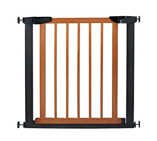 Fairy Baby Pet & Baby Gate Narrow Extra Wide for Stairs Metal and Wood Pressure Mounted Safety Walk Through Gate,29″ High,Fit Spaces Between 32.28″-35.04″,Coffee Black (3-7 Days Delivered)