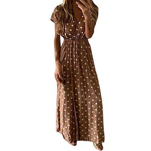 (Women's Casual Long Maxi Dress, Classic Dot Print Dresses, Sexy V Neck High Waist Wrap Dresses Party Beach Brown)