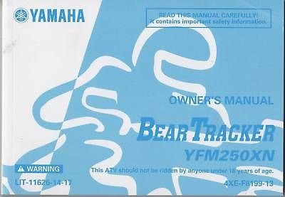 2001 YAMAHA ATV BEAR TRACKER YFM250XN OWNERS MANUAL