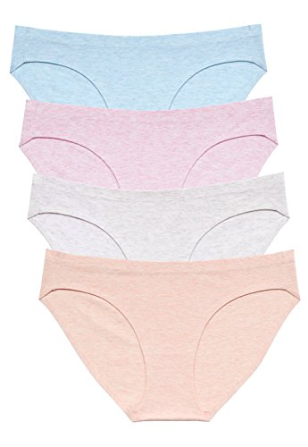 Wealurre Viscose Cotton Bikini Women's Breathable Panties Seamless Comfort Underwear(3128M,Light Basics)
