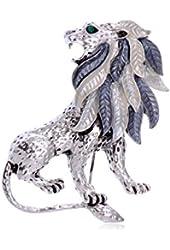 Alilang Silver Tone Etched Grey Leaf Jungle Lion King Mane Brooch Pin