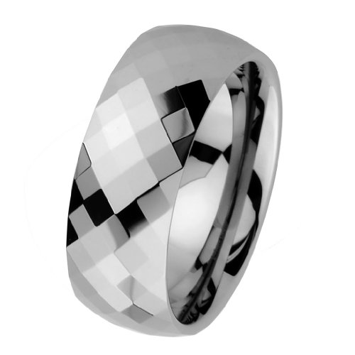 8mm Faceted Men's Tungsten Wedding Band - Size - Faceted Band 8mm Tungsten
