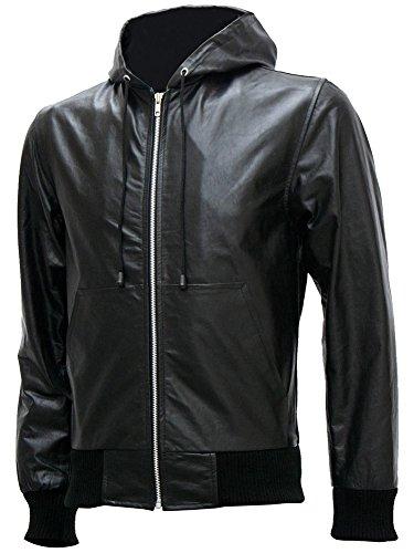Hooded Black Bomber Premium Leather Jacket - Afton, XXX-Large (Afton Leather)
