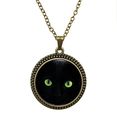 Round Shape Black Cat Green Eyes Glass Cabochon Pendant Necklace Adjustable Length Handmade Jewelry, Chain Included (5 Styles)