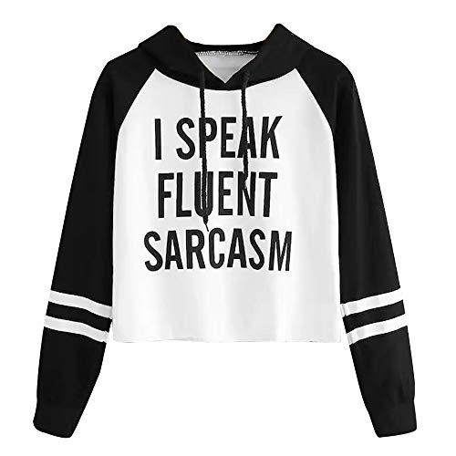 DEATU Sale Teen Sweatshirt Tops I Speak Fluent Sarcasm Printed Ladies Casual Hoodie Heart Broken Long Sleeve Pullovers(Black,X-Large) -
