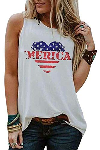 BANGELY Merica American Flag Star Stripe Tank Shirt for Juniors Heart Graphic Patriotic Vest Tees 4th of July USA Flag Tops Size X-Large (White)